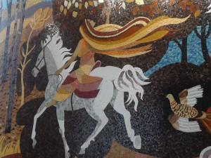 Mosaik med motiv ur keltisk mytologi, Irish World Academy. Foto: Ingrid Åkesson.