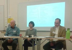 I konferensens slutpanel diskuterade Sven Kristersson, Lene Halskov Hansen och Johan Franzon det sjungna ordet som tvärvetenskapligt forskningsfält. Foto: Kajsa Dahlström.