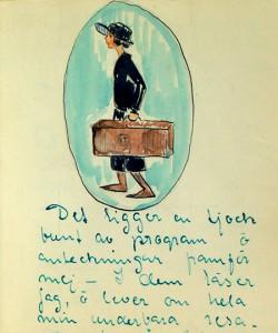 Sida ur Inga Tidblads resedagbok med tecknat självporträtt.