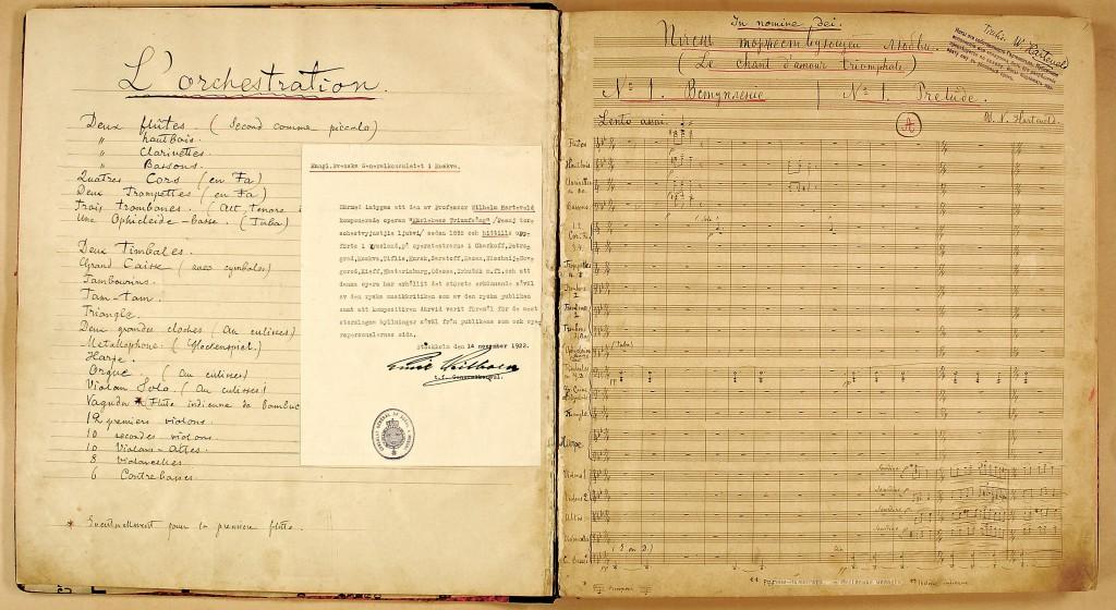 "Partituret (autograf) till ""Kärlekens triumfsång""."