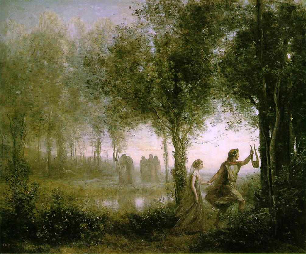 Orphée ramenant Eurydice des enfers. - Oljemålning av Jean-Baptiste-Camille Corot (1861)
