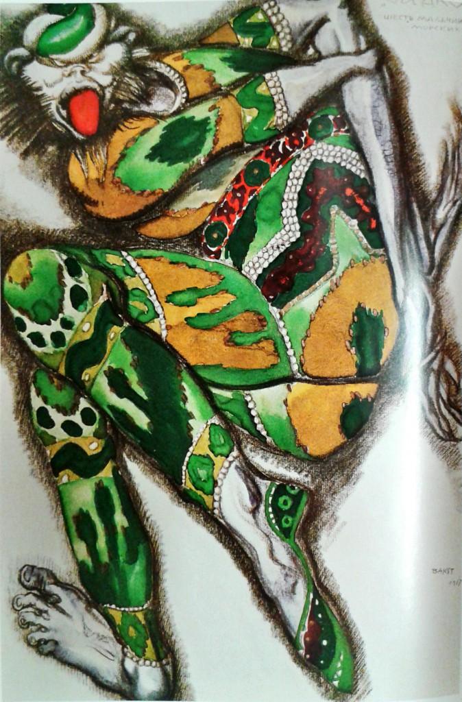 Den gröne djävulen (kostymskiss av Leon Bakst till Rimsky-Korsakovs Sadko), ur Leon Bakst : set and costume designs, London : Penguin, 1988