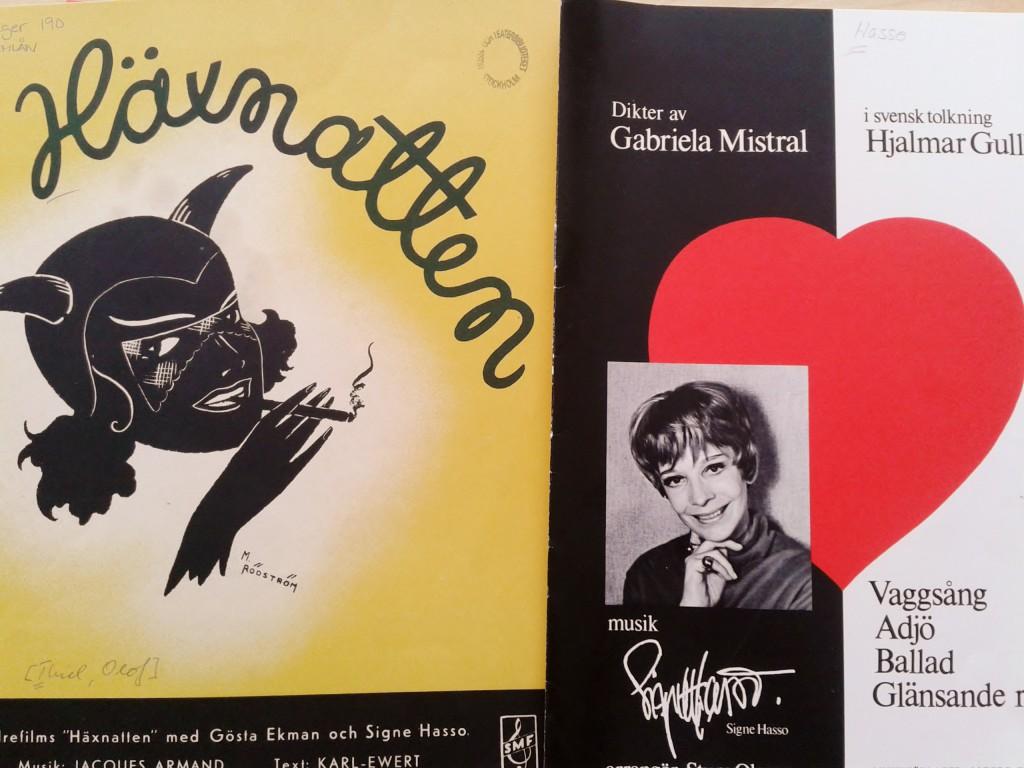 Signe Hasso och musiken. På 30-talet som sångare i filmen Häxnatten, på 70-talet som tonsättare till lyrik av Gabriela Mistral.