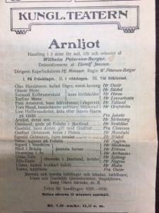 Rollistan till urpremiären av operan Arnljot på Kungliga teatern 1910.