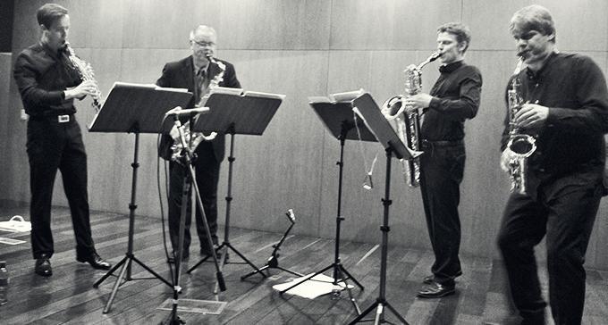 Stockholms Saxofonkvartett: Matias Karlsen Björnstad, Leif Karlborg, Johannes Thorell & Jörgen Pettersson.
