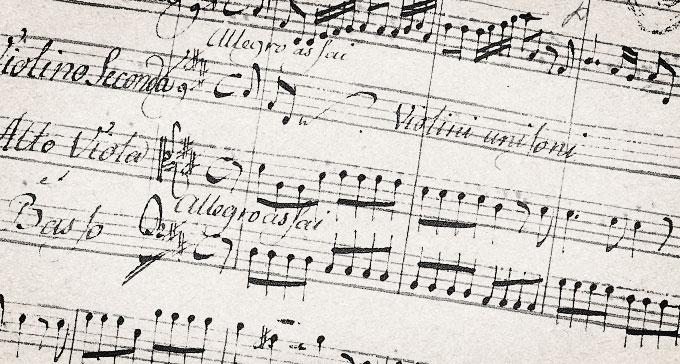 Utsnitt från faksimil av Johan Helmich Romans Drottningholmsmusik.