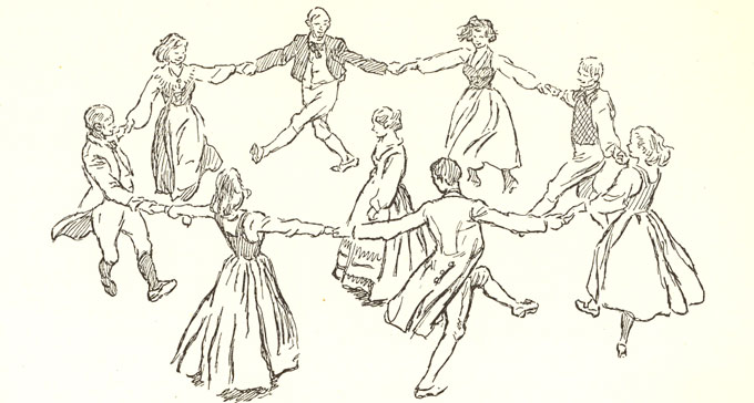 Illustration av dansande barn i ring av Eric Palmquist ur boken Svenska folklekar och danser (1950).
