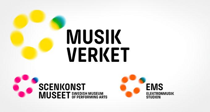 Musikverkets, Scenkonstmuseets och Elektronmusikstudions nya logotyper. Design: Spacerabbit