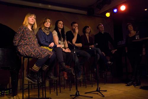 Panelen, från vänster Ellekari Larsson Sander, Rebecka Törnqvist, Hilda Sandgren, Josef Kallerdahl, Lina Brustad och Anders Engström, samt moderator Petra Markrgren Wangler
