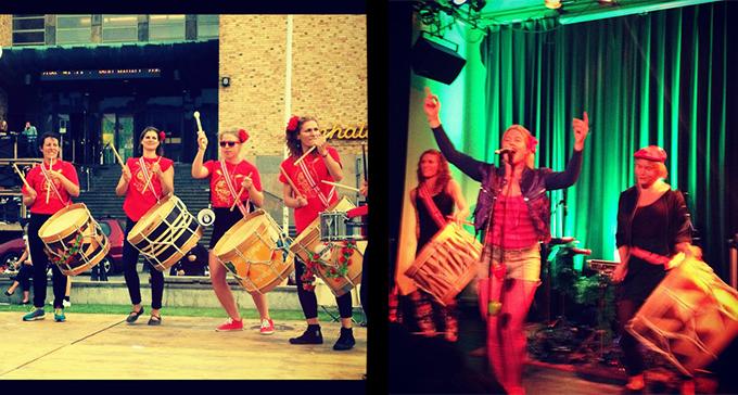 Banden Masangue och As Jinganas uppträder på Världens DRAG! på Kulturhuset den 26 oktober. Foto: Vivianne Meza Montanari och Emma Milder