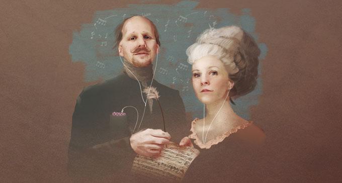 Mattias Lundberg och Esmeralda Moberg är programledare för poddradioserien Den svenska musikhistorien. Bild: Simon Lundgren/Sveriges Radio