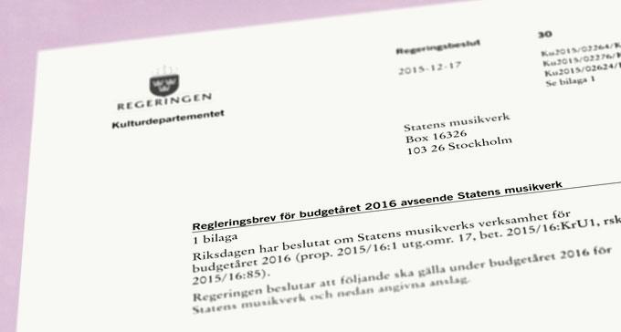 Regleringsbrev för budgetåret 2016. Bild: Musikverket