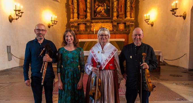 Anders Norudde, Ulrika Bodén, Eva Blomquist-Bjärnborg och Magnus Gustafsson i S:t Jacobs kyrka. Foto: Thorbjörn Ivarsson