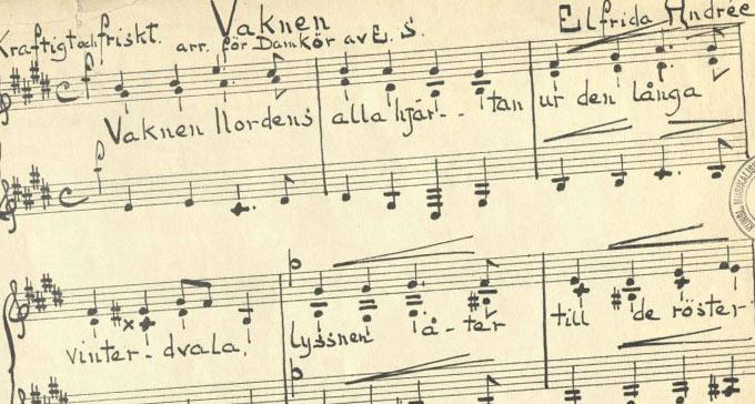 Klipp ur handskrivna noter av Vaknen.